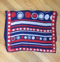 Vintage 60s Vera Neumann rectangular silk scarf (Red, White & Blue) image 2