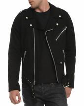 Mens Biker Jacket Black Motorcycle Goth Punk Moto 100% Cotton - $59.99
