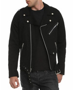 Mens Biker Jacket Black Motorcycle Goth Punk Moto 100% Cotton - £40.28 GBP