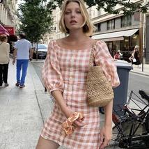 Women's Trendy Pink Checkered Casual Contour Sundress image 4