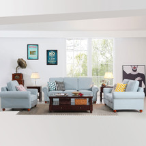 1+2+3 Sectional Sofa Set Indoor Home Decor Furniture Light Blue Sofa Cou... - $1,699.50