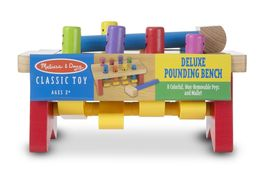 Melissa & Doug Deluxe Pounding Bench Wooden Toy With Mallet [New] Toddle... - $29.99