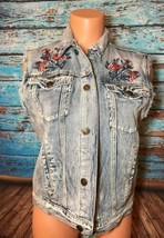 Forever 21 Floral Embroidered Jean Jacket Vest Small S F21 Roses - $17.82
