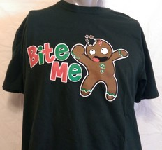 """Funny Christmas Novelty Cookie """"Bite Me"""" Shirt Size Large Office Work Party Xmas - $16.82"""