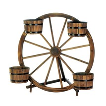 outdoor planter, Wagon Wheel Barrel decorative rustic garden planter out... - $131.19