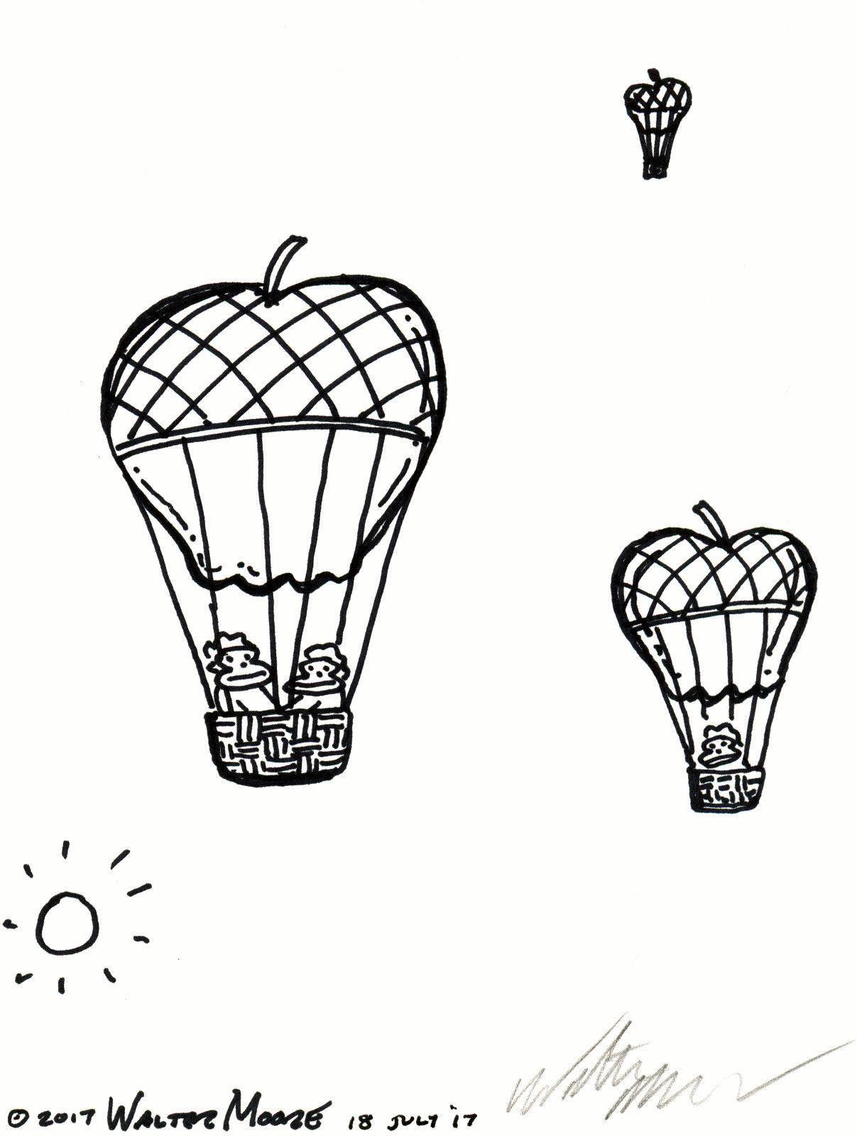 Ape Apple Balloons in Flight. Original Signed Cartoon by Walter Moore