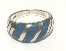 Vintage 925 Sterling Silver Men's Dome Ring with Inlayed Blue Stones - $24.75