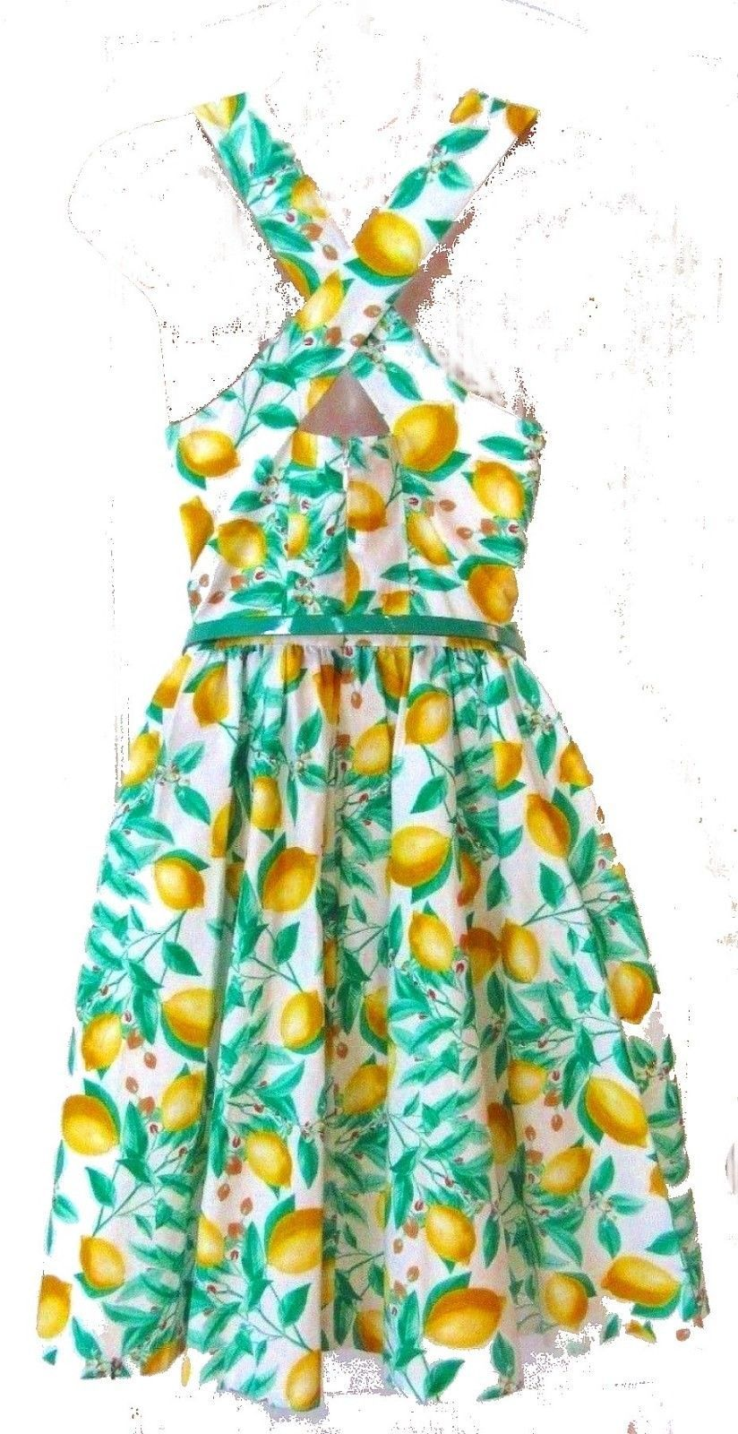 Elle Lemon Print Sundress Dress w/Skinny Belt Criss Cross back NWOT$60 Size 14