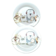 Pier 1 Set of (2) DOGS & CATS Salad Plates Sheepdog Cat Earphones - $22.77