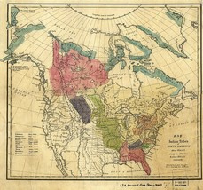 1836 Map North American Indian tribes 1600 A.D. Native Poster Art Print Decor - $13.00+