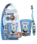 BRUSH BUDDIES 3pc THOMAS & FRIENDS Cap+Rinsing Cup TOOTHBRUSH SET Soft B... - $3.99