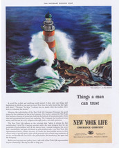 1941 The Lighthouse art by Elmo Anderson New York Life Insurance Print Ad - $9.99