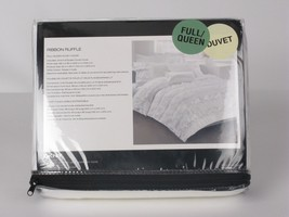DKNY Ribbon Ruffle White 3P Queen Duvet Cover Shams Set - $142.45