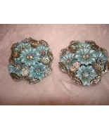 VINTAGE LARGE SIGNED CORO SILVER FLOWERED LEAF CLIP-ON EARRINGS RHINESTONE  - £7.70 GBP