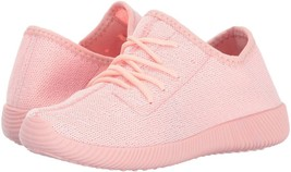 Qupid Women's Nacara-01 Lightweight Knit Lace-Up Pink Sneaker 6 Medium (B, M) - $24.74