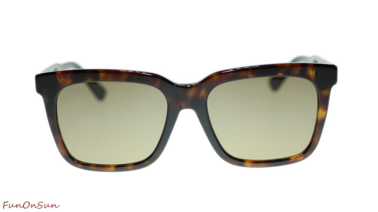 2af4fbc0ce NEW Gucci Men s Sunglasses GG0267SA 002 Havana Brown Lens Square 55mm  Authentic