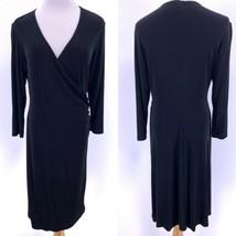 Chico's Rosemary Faux Wrap Dress Travelers Black Sz 1 (Fits Sz 8 10) Str... - $34.60