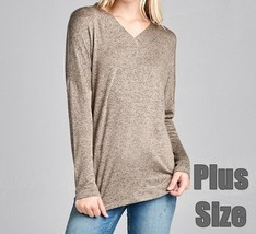 Plus Size Hacci Sweater, Soft Taupe Sweater, Relaxed Plus Size Sweater, Taupe