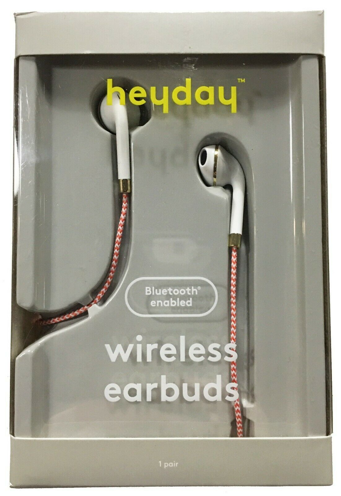 heyday Wireless Coral White Braided Bluetooth Enabled Earbuds Phone Headset NEW