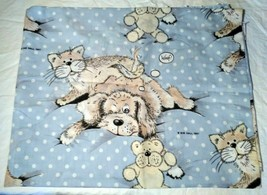Baby Kids Nursery Curtains 2 Panels Dogs Cats Light Blue Sue Hall Design... - $9.41