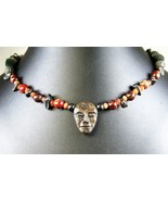 Hand Carved Soap Stone and Brown Agate + Hematite Sterling Silver Clasp ... - $143.00
