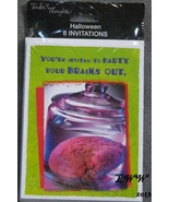 Halloween Zombie Brains Party Invitation Cards package of 8 with Envelopes - $3.25