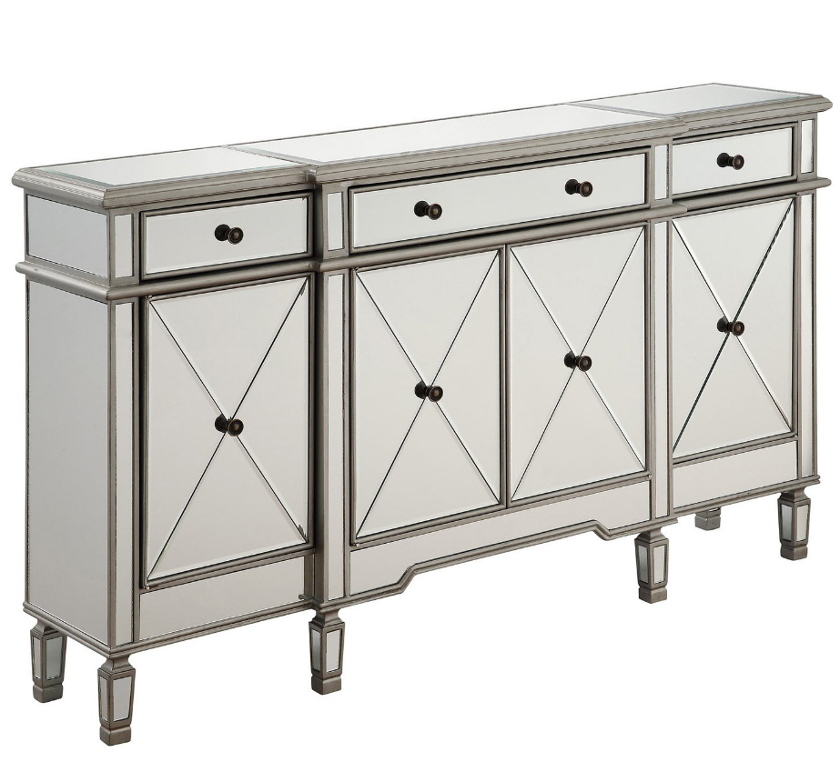 Buffet Table Server Sideboard Mirrored Cabinet Storage Drawers Doors China Home image 2
