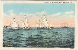 Florida Sailing on Pensacola Bay Sailboats FL Curteich Postcard - $4.99