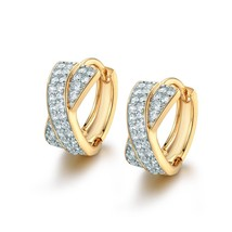 Luxury Twisted Small Hoop Earrings for Women 2020 Jewelry Gold-Color Zircon Crys - $14.29