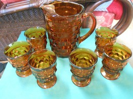 "Beautiful WHITEHALL ""Amber"" PITCHER and 6 GLASS... - $49.09"