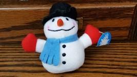 "Mini Snowman 4"" Plush Stuffed Animal Toy Black Hat Blue Scarf - $4.95"