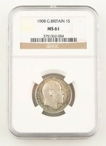 1908 Great Britain Shilling Silver Coin MS-61 NGC Edward VII England KM#800 - $595.03