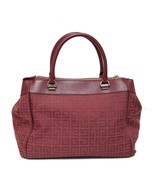 Auth Givenchy Red Monogram Canvas Tote Bag with Leather Trim Top Handle ... - $406.73