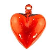 ZealwithaFish Hand Blown Heart 1 Orange 7 x 7 inches heart approx 1 pc - $51.26