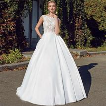 Bridal Fashion Scoop Neck Lace Top Wedding Dresses Sleeveless Pleated Satin Lace image 1