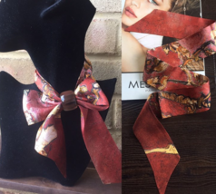 Pure silk New bandeau TwillyScarf: Van Gogh flower in wine Red - $24.56