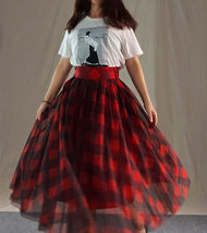 Womens Red Plaid Skirt Long Tulle Plaid Skirt - Red Check,High Waist, Plus Size image 7