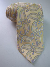 MICHAEL KORS Silk Necktie Gold & Blue Paisley pattern Modern Style Mens - £10.89 GBP