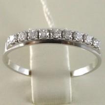 White Gold Ring 750 18K, Veretta 9 Diamonds Carat Total 0.28, Shank Flat image 2