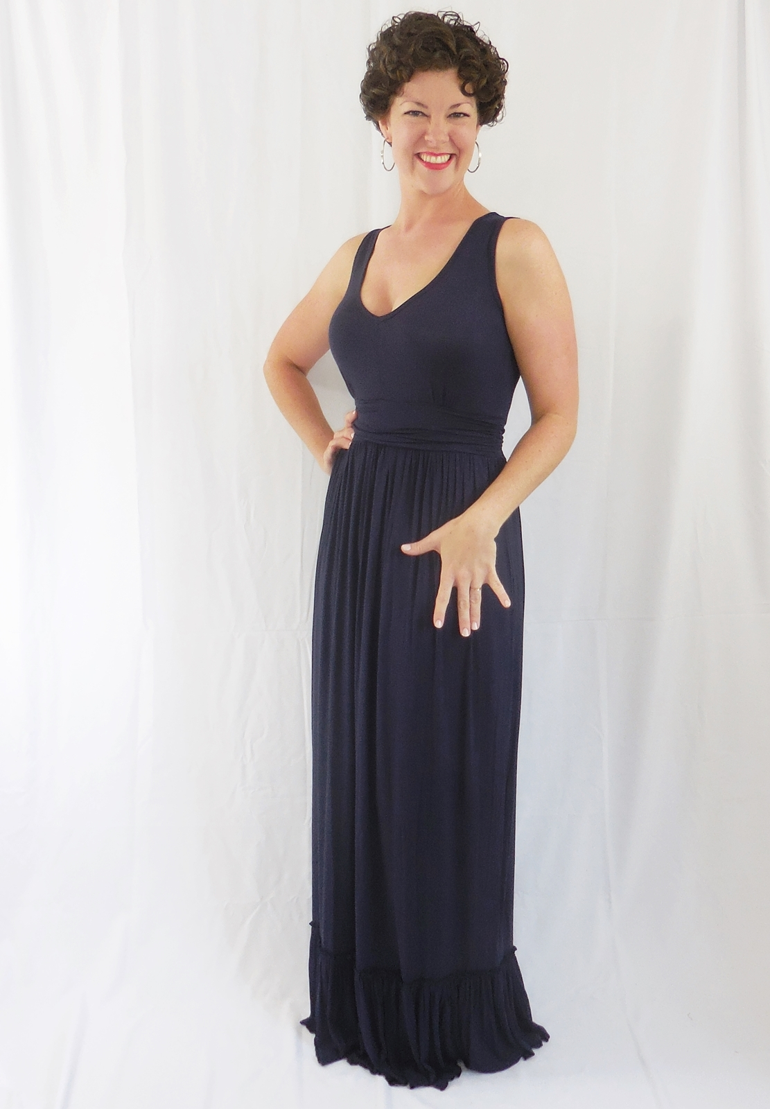 Navy Scoop Neck Maxi with Ruffle Hem, Shirred Waist, Navy Maxi, Womens