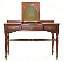 RARE MONITOR FURNITURE CHERRY CHIPPENDALE POUDRE TABLE DRESSER ANTIQUE DESK - $761.35