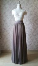 Cream Ivory Tulle Maxi Skirt High Waisted Plus Size Ivory Long Maxi Tulle Skirt image 9