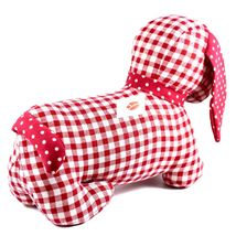 Delton Checkered Plaid Red Heart Dachshund Puppy Dog Love Door Stopper Doorstop image 3