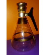 Vintage Mid Century Modern Glass - FRENCH Coffee Server Carafe GOLD STRIPES - $14.84
