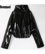 Nerazzurri Zip up patent leather jacket for women - $54.99
