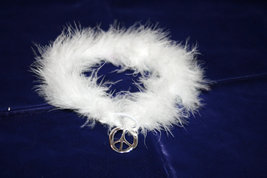 White Boa style collar with Peace Sign medallion - great for pets or you... - $8.00