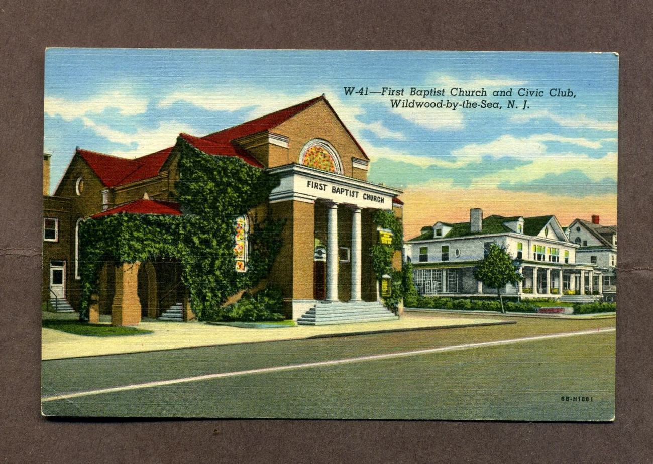 Primary image for Vintage Linen Postcard First Baptist Church Civic Club Wildwood By the Sea NJ