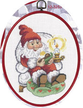 Relaxing Elf Christmas Ornament kit counted cross stitch Permin Copenhagen - $45.00