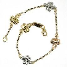 Bracelet or Blanc Rose Jaune 18K 750, Papillons, Déclaration, Martélées,... - $302.82