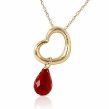 14 Karat Gold Heart w/ Dangling Natural Ruby Pendant - $396.75